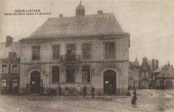 henin lietard mairie hotel de ville avant la guerre estaminet crepin carte postale animee cp cpa