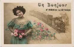 henin lietard beaumont un bonjour jeune fille fleur train carte postae souvenir cp cpa
